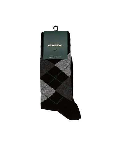George Hogg 7004936 Ekose Erkek Çorap Siyah
